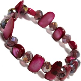 "Stretch Bracelet 6"" Crystal Rectangle Stone AB Magenta SBR427"