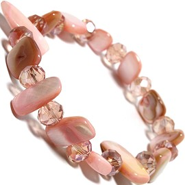 "Stretch Bracelet 6"" Crystal Rectangle Stone Pink SBR428"