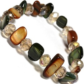 "Stretch Bracelet 6"" Crystal Rectangle Stone Tan Green SBR432"