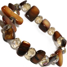 "Stretch Bracelet 6"" Crystal Rectangle Stone Brown SBR442"