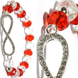 Infinity Rhinestone Stretch Crystal Bracelet Clear Red SBR455
