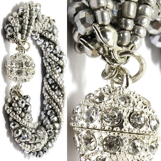 Bead Crystal Bracelet Rhinestone Magnetic Clasp Silver To SBR457