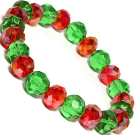 Crystal Stretch Bracelet Christmas Colors 10mm Red Green SBR481