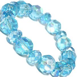 "Stretch Bracelet 7"" Crystal Oval 12mm 10mm Bead Turquoise SBR483"