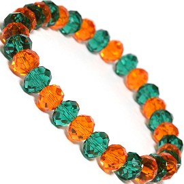 "Stretch Bracelet 7"" Crystal Oval 8x6mm Bead Teal Orange SBR486"