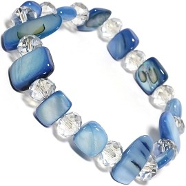 "Stretch Bracelet 6"" Crystal Rectangle Stone Skyblue Clear SBR500"