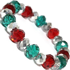 "Stretch Bracelet 7"" Crystal Oval 12mm 10mm Bead Red Teal SBR502"
