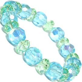 "Stretch Bracelet 7"" Crystal Oval 12mm 10mm Bead Turquoise SBR506"