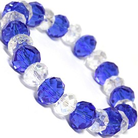 "Stretch Bracelet 7"" Crystal Oval 12mm 10mm Bead Blue Clea SBR513"