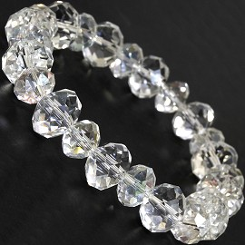 "Stretch Bracelet 7"" Crystal Oval 12mm 10mm Bead Clear SBR514"