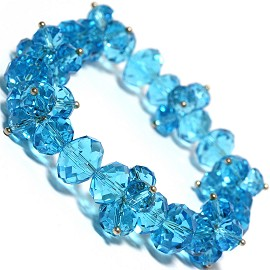 "1pc Stretch Bracelet Crystal Oval Beads Turquoise 7"" Inch SBR521"