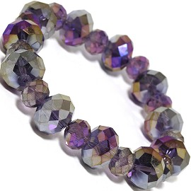 1pc Stretch Bracelet Crystal Oval Bead AB Silver Purple SBR524