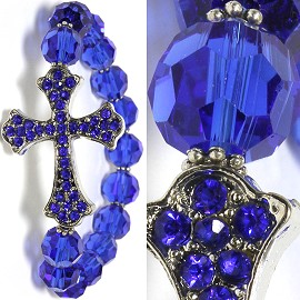 Stretch Fancy Cross Bracelet Rhinestone Beads Blue SBR531