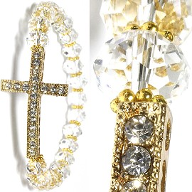 Cross Stretch Crystal Bracelet Rhinestone Clear Gold Tone SBR534