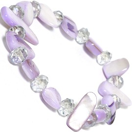 "Stretch Bracelet 6"" Oval Crystal Rectangle Stone Lavender SBR538"