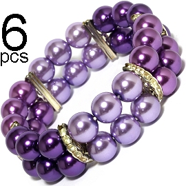6pcs Smooth Bead Stretch Bracelet Black Lavender D Purple SBR543