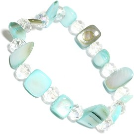 "Stretch Bracelet 6"" Crystal Rectangle Stone Turquoise SBR549"