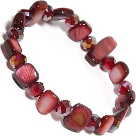 "Stretch Bracelet 6"" Crystal Rectangle Stone Bead Dark Red SBR552"