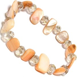 "Stretch Bracelet 6"" Crystal Rectangle Stone Bead Peach SBR553"