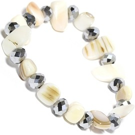 "Stretch Bracelet 6"" Crystal Rectangle Stone Ivory White SBR554"