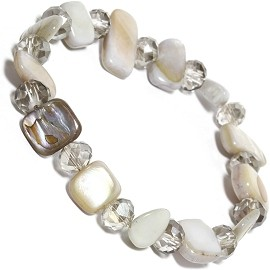 "Stretch Bracelet 6"" Crystal Rectangle Stone White Clear SBR555"