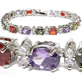 "7"" Zircon Oval Crystal Bracelet Silver Red Purple Green SBR567"