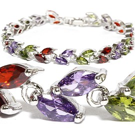"7"" Zircon Double Oval Crystal Bracelet Silver Red Purple SBR573"