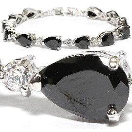 "7"" Zircon Tear Drop Circle Crystal Bracelet Silver Black SBR578"