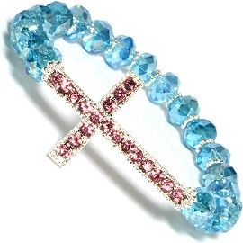 Cross Rhi Crystal Beads Stretch Bracelet Pink Turquoise SBR581