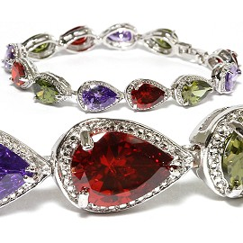 "7"" Zircon Tear Drop Crystal Bracelet Silver Red Green Pur SBR584"