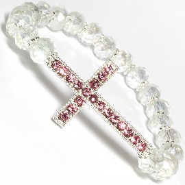 Cross Rhi Crystal Beads Stretch Bracelet Pink Clear White SBR587