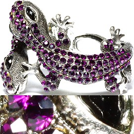 Antique Bracelet Lizard Rhinestones Silver Purple SBR596
