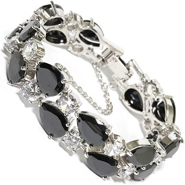 "7"" Zircon Tear Drop Circle Crystal Bracelet Silver Black SBR597"