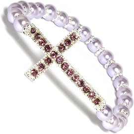 Cross 6mm Smooth Beads Stretch Bracelet Lavender SBR601