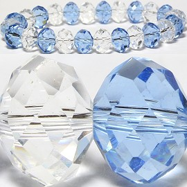 10mm Crystal Bracelet Stretch Light Blue Clear SBR801