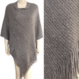 Sweater Poncho Thick Soft Light Gray Shiny Silver Dots UH015