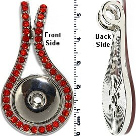 1pc Snap on Pendant Holder Rhinestones Silver Red ZB093