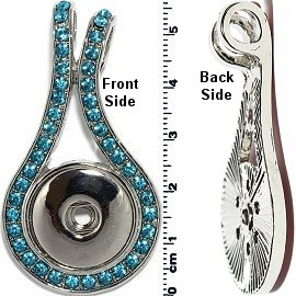 1pc Snap on Pendant Holder Rhinestones Silver Turquoise ZB094