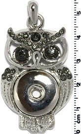 1pc Snap on Pendant Holder Owl Silver Gray ZB097