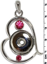 1pc Snap on Pendant Holder Heart Silver Pink ZB112
