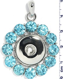 1pc Snap on Pendant Holder Rhinestones Silver Turquoise ZB196