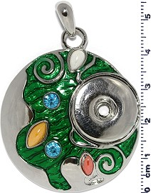 1pc Snap on Pendant Holder Circle Silver Green ZB269