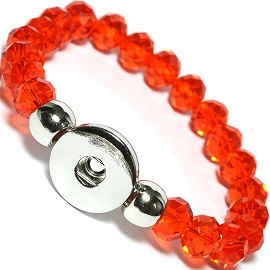 "1pc 7"" Bracelet Crystal, 1 Hold 18mm Snap On Orange ZB389"