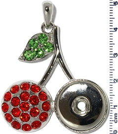 1pc Pendant Red Rhinestone 18mm Snap on Cherry ZB393