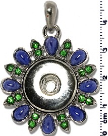 1pc Pendant Rhinestone 18mm Snap On Silver Green Blue ZB404