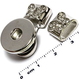 1pc Clasp 18mmvRhinestone Snap on Holder Part End ZB424