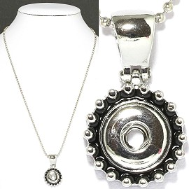 1pc Chain Necklace Charm Snap On 13mm Silver ZB444