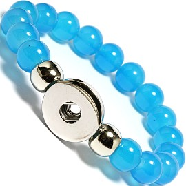 "Stretch 1pc 7"" Bracelet, 1 Holder 18mm Snap On Blue ZB463"