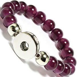 "Stretch 1pc 7"" Bracelet 1 Holder 18mm Snap On Dark Purple ZB469"
