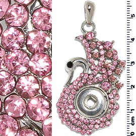 13mm Pendant Swan Pink Rhinestone Holder ZB481
